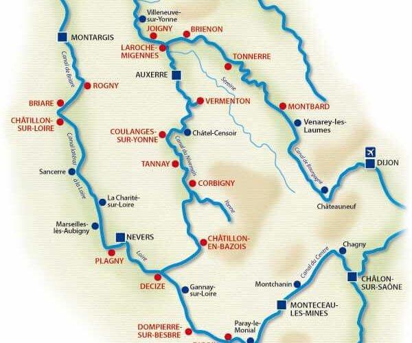 Carte réseau fluvial bourgogne