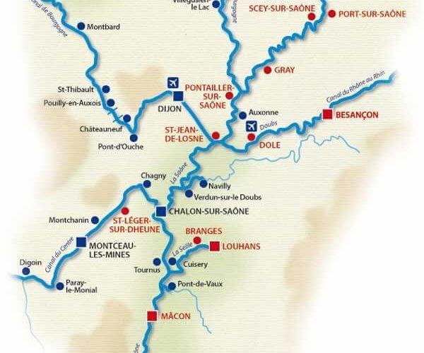 Carte réseau fluvial bourgogne-franche-comté