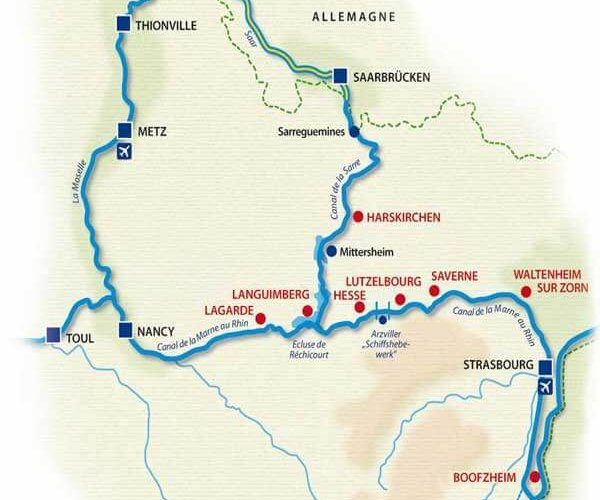 Carte canaux d'Alsace