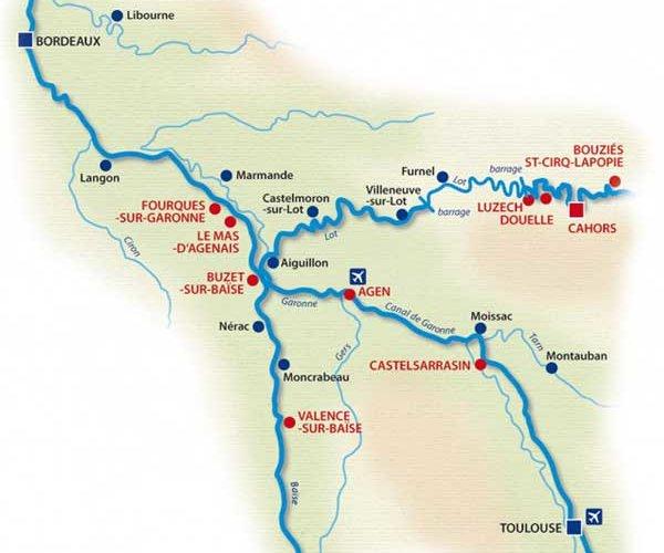 Carte canaux d'Aquitaine